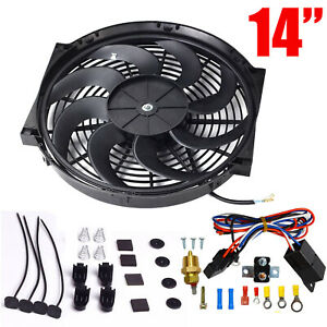 14 Electric Radiator Cooling Fan 3 8 Probe Ground Thermostat Switch Kit Bk