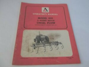 Allis chalmers 610 Model 3 Point Hitch Plow Operator s Manual