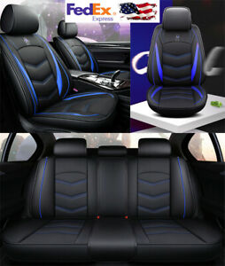 Black Blue Pu Leather Car Seat Covers Front Rear Full Set For 5 Seats Car