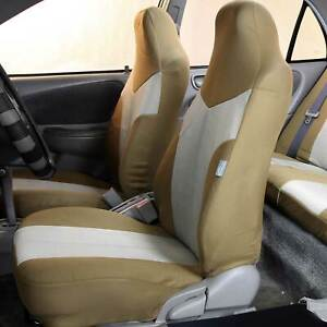Highback Front Bucket Seat Covers For Car Suv Auto Van 2 Tone Beige