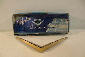 Nos 1950 S Ford Chevy Hood Trunk Gold Vee Universal Emblem Perfection Accessory