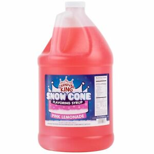 4 Case 1 Gallon Pink Lemonade Snow Cone Concession Stand Drink Beverage Syrup