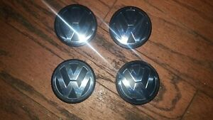 4 Pcs Vw Volkswagen Black Wheel Center Hub Caps Chrome 3b7601171xrw