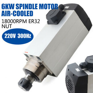 6kw Cnc Woodworking Spindle Motor Air cooling Er32 18000rpm Mill Spindle 300hz