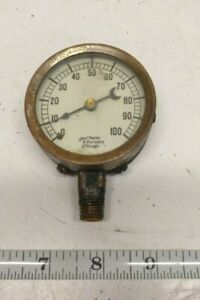 Vintage Steam Engine Marsh Brass Instrument Company Pressure Gauge 0 100 Psi