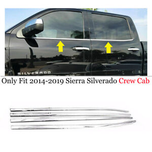 For 2014 2017 2018 Chevy Silverado 1500 Crew Cab Stainless Steel Window Sills