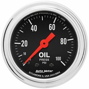 Autometer 2421 Traditional Chrome Oil Pressure Gauge 2 1 16 In Mechanical