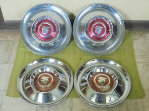 1955 Mercury Hub Caps 15 Set Of 4 Wheel Cover 55 Merc Hubcaps