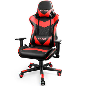 Goldoro Gaming Chair Computer Chair Ergonomic High Back Pu Leather Black Red