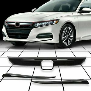 For 2018 2020 Honda Accord Glossy Black Front Grill Molding Trim Eyelid Cover
