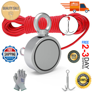 New Double Sided Magnet Fishing Kit With Grappling Hook Rope Gloves 760lbs Pul