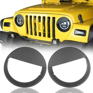 Front Lights Headlight Angry Birds Cover For 97 06 Jeep Wrangler Tj Black Bezels