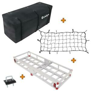 60 X 22 Cargo Hauler Carrier Hitch Mounted Receiver Luggage Basket Bag Combo