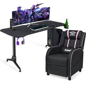 62 5 Adjustable Gaming Desk massage Gaming Recliner Chair Set W mouse Pad Pink