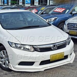 Fit 2012 Honda Civic Sedan Painted White Jdm Cs style Front Bumper Lip Kit 3pcs