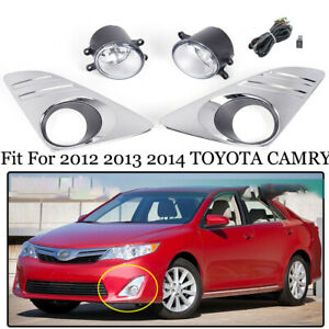 For 2012 2013 2014 Toyota Camry L Le Xle Bumper Driving Fog Light Chrome Cover