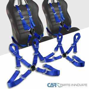 2x 4 Point Blue Nylon Straps Cam Lock Drift Racing Safety Seat Belts Harness
