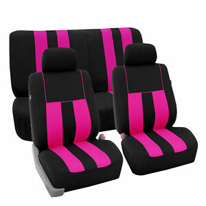 Full Set Car Seat Covers For Auto Suv Van Pink Black W 2 Head Rest Covers