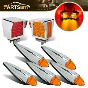 5x Amber Chrome Plating Cab Marker Assembly 2pc Stop Turn Tail Light Universal