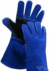 Leather Welding Gloves Stitching Heat Resistant 14 in 1 Tig mig stick Blue Black