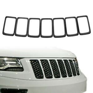 7pcs Abs Gloss Black Front Grille Trim Insert Ring For Jeep 14 16 Grand Cherokee