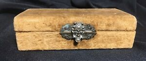Antique Velvet Box With Ornate Brass Face Figure Latch 5 5x2 5x1 5 Inches