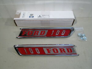 New 1967 Ford F 100 Pickup Truck Chrome Hood Side Emblems Pair Nice