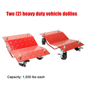 2pc Tire Wheel Dollies Dolly Vehicle Car Auto Repair Red 12 x16 Skate 3000lb