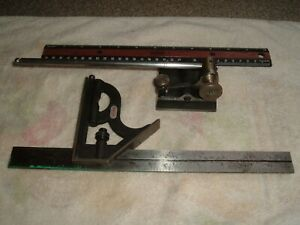 Starrett Universal Surface Gage 5 16 x9 Spindle 12 Combination Square Lot Set