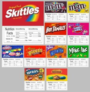 10 Vending Machine Stickers Labels With Nutrition Free Shipping
