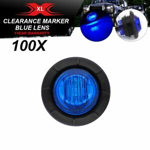 100 Pcs Blue Lights Truck 3 Led 3 4 Round Indicator Trailer Side Marker Lorry
