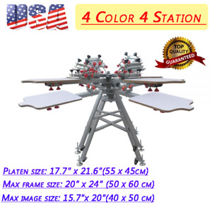 Us Silk Screen Printing Press Machine 4 Color 4 Station With Micro Registration