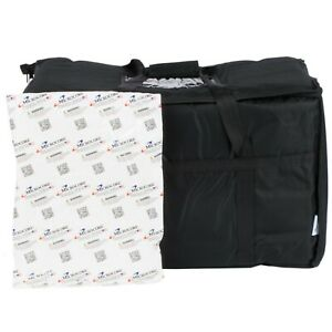 Insulated Food Delivery Bag Pan Carrier W Microcore Thermal Hot Cold Pack