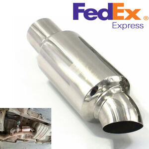 2 Inlet To 2 outlet Car Exhaust Pipe Resonator Silencer Premium Stainless Steel