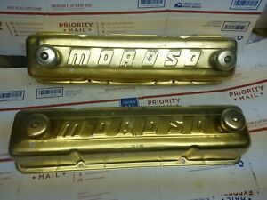 Vintage Moroso Small Block Chevy Gold Anodized Tall Valve Covers Rare Breathers