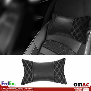 1x Car Seat Neck Pillow Head Shoulder Rest Pad Fabric And Pu Leather Black