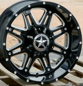 20 Black Cnc Lonestar Outlaw Wheels 20x12 8x170mm 44 Ford F250 F350 Excursion