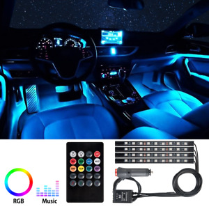 4x72led Rgb Car Interior Atmosphere Light Strip Ir Remote Music Control Lamp