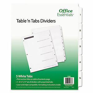 Table n Tabs Dividers 5 tab 1 To 5 11 X 8 5 White 1 Set 11666 11666 1