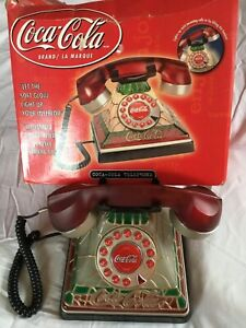 Coca Cola Phone Vintage Stained Glass Desk top Home Telephone Light Up