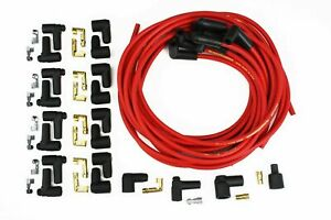 Taylor Sbc Bbc Sbf 8mm 90 Degree Red Spark Plug Wires Male Female Ends Hei