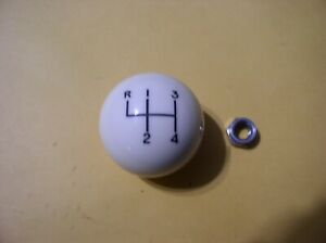 Hurst 4 Speed Shift Ball Off White W lock Nut