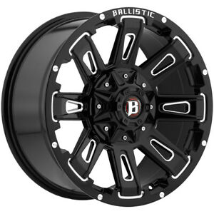 4 20 Inch Ballistic 958 Ravage 20x9 6x135 6x5 5 12mm Black milled Wheels Rims