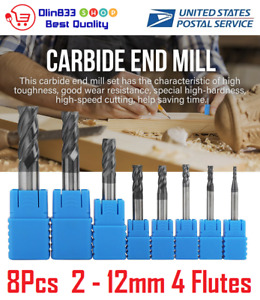 8pcs 4 Flutes Carbide End Mill Set 2 12mm Tungsten Steel Cnc Cutter Milling Tool