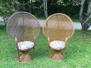 Vintage Pair Of 1970s Rattan Bamboo Peacock Throne Chairs