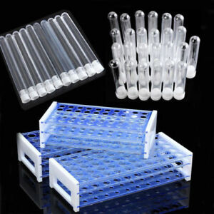 25 50pcs Plastic Test Tubes Vials With Caps Pipe Rack Holder Stand 40 50 Holes