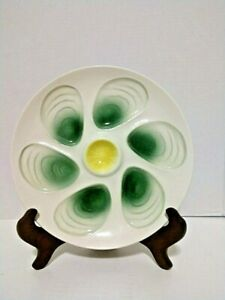 Vintage Oyster Plate by Salins France 6 Wells Green Yellow Majolica Ex Cond
