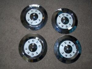 Nos Ford 57 58 59 Galaxie Fairlane Dog Dish Hubcaps 312 Y Block