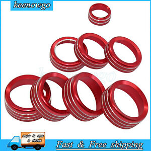 8pcs Ac Switch 4wd Release Mirrors Control Knob Ring Trim Fits For Ford F150 Red