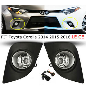 For Toyota 14 15 16 Corolla Clear Lens Fog Light Driving Lamp W Switch Wiring